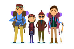 Family vacation. people travelling. With children and suitcases vector illustration. travelers backpacks. EPS 10 Royalty Free Stock Photography