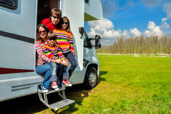 Family vacation, RV (camper) travel in motorhome with kids Stock Image