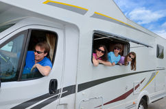 Family vacation, RV travel with kids, happy parents with children on holiday trip in motorhome Royalty Free Stock Images