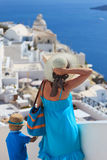 Family on vacation in Santorini, Greece Royalty Free Stock Images
