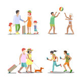 Family vacation set going have fun holidays illustration. Family vacation set. Man woman children going have fun interesting holidays illustration. Travelling Royalty Free Stock Photo