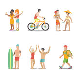 Family vacation set going have fun holidays illustration. Family vacation set. Man woman children going have fun interesting holidays illustration. Travelling Royalty Free Stock Photos