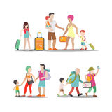 Family vacation set going have fun holidays illustration. Royalty Free Stock Photography