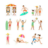 Family vacation set going have fun holidays illustration. Royalty Free Stock Image
