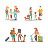 Family vacation set going have fun holidays illustration. Family vacation set. Man woman children going have fun interesting holidays illustration. Travelling Stock Photo