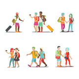 Family vacation set going have fun holidays illustration. Royalty Free Stock Images