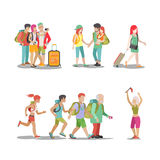 Family vacation set Man woman children fun holidays illustration Stock Images