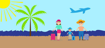 Family on vacation with suitcases. Vector Illustration. Stock Image