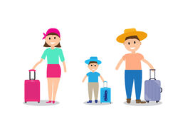 Family on vacation with suitcases. Vector Illustration. Royalty Free Stock Images