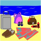 Family vacation poster. Air tickets, luggage and shoes on beach. Summer holiday together stock photo