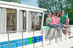 Family vacation, summer holiday travel on barge boat in canal, happy kids and parents having fun on river cruise trip in houseboat royalty free stock photos