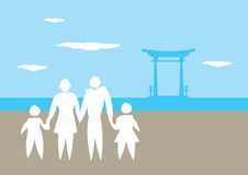 Family Vacation to Japan Vector Illustration Royalty Free Stock Images