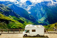 Family vacation travel, holiday trip in motorhome. Stock Photos