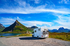 Family vacation travel, holiday trip in motorhome Stock Photos