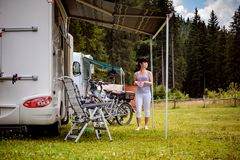 Family vacation travel, holiday trip in motorhome royalty free stock photography