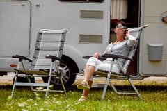Family vacation travel, holiday trip in motorhome RV royalty free stock photo