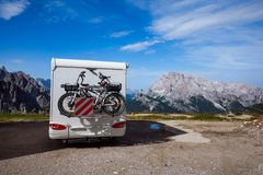 Family vacation travel, holiday trip in motorhome VR Royalty Free Stock Photos