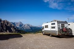Family vacation travel, holiday trip in motorhome VR Royalty Free Stock Photo
