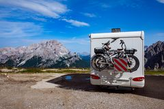 Family vacation travel, holiday trip in motorhome VR royalty free stock images