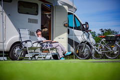 Family vacation travel, holiday trip in motorhome Stock Photography