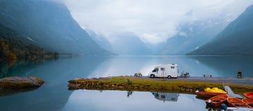 Family vacation travel RV, holiday trip in motorhome. Caravan car Vacation. Beautiful Nature Norway natural landscape stock photos