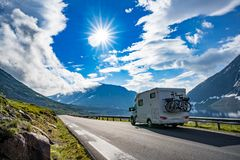 Family vacation travel RV, holiday trip in motorhome stock photos