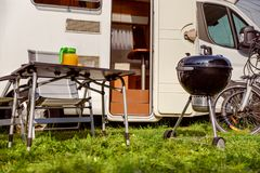 Family vacation travel RV, holiday trip in motorhome, Caravan ca royalty free stock photography