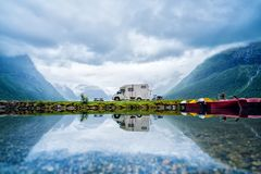 Family vacation travel RV, holiday trip in motorhome. Caravan car Vacation. Beautiful Nature Norway natural landscape Royalty Free Stock Photography