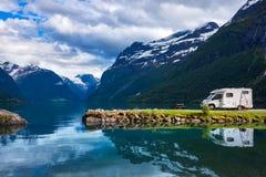 Family vacation travel RV, holiday trip in motorhome. Caravan car Vacation. Beautiful Nature Norway natural landscape stock photo