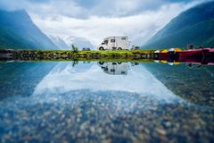 Family vacation travel RV, holiday trip in motorhome. Caravan car Vacation. Beautiful Nature Norway natural landscape royalty free stock image