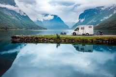 Family vacation travel RV, holiday trip in motorhome. Caravan car Vacation. Beautiful Nature Norway natural landscape Royalty Free Stock Photo