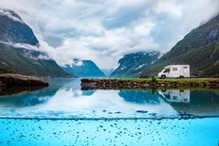 Family vacation travel RV, holiday trip in motorhome. Caravan car Vacation. Beautiful Nature Norway natural landscape stock images