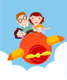 Family vacation trip on an airplane Stock Photography