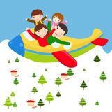 Family vacation trip on an airplane.  Royalty Free Stock Photo