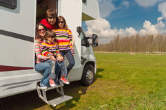 Family vacation trip in motorhome Stock Photos