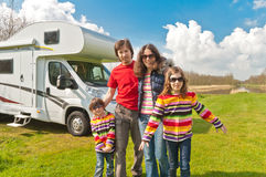 Family vacation trip in motorhome Royalty Free Stock Image