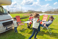 Family vacation trip in motorhome Stock Photography