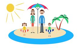 Family on vacation. Vector illustration on different layers, suitable for animation Royalty Free Stock Photography