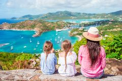 Family vacation. View of English Harbor from Shirley Heights, Antigua, paradise bay at tropical island in the Caribbean. View of English Harbor from Shirley Stock Photography