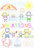 Family vacations. Sketch on notebook page Royalty Free Stock Image