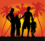 Family on vacations. Vector work Stock Photo