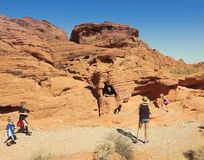 A Family at the Valley of Fire State Park Stock Photography