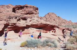 A Family at the Valley of Fire State Park Royalty Free Stock Photo