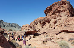 A Family at the Valley of Fire State Park Royalty Free Stock Image