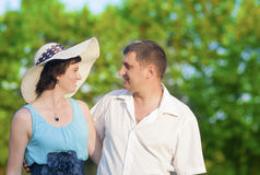 Family Values Concepts and Ideas. Two Caucasian Mature Adults Enjoying Together Outdoors Stock Photography