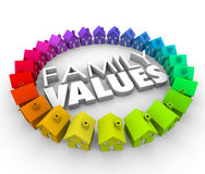 Family Values 3d Words Homes Houses Circle Ethics Morals. Family Values word in 3d letters surrounded by a circle of colorful houses or homes in a community Royalty Free Stock Photography