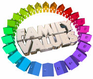 Family Values Religious Beliefs Homes Houses Words. 3d Illustration royalty free illustration