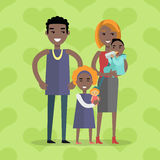 Family Vector Concept in Flat Design. Family vector concept. Flat design. Genetic similarity to parents. Little boy on mother hands eating bottle, girl with doll royalty free illustration