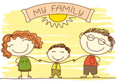 FAmily .Vector happy parents and text. Royalty Free Stock Photo