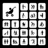 Family vector icon set Stock Photos